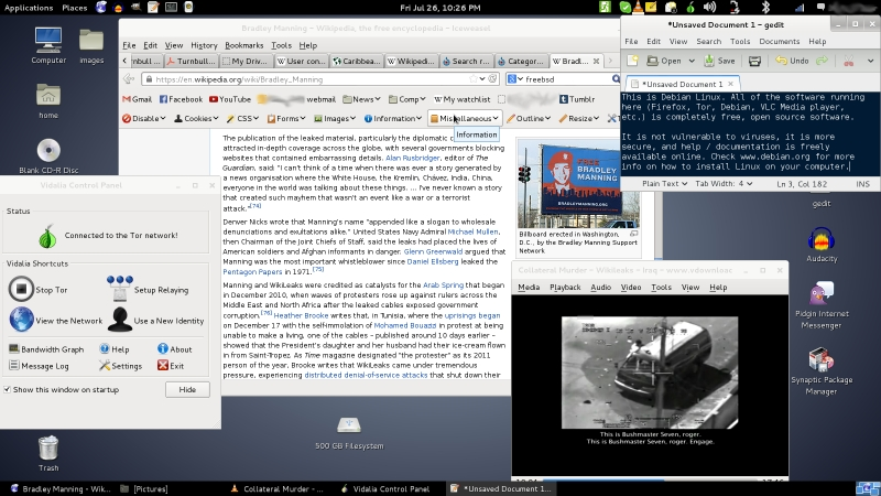 Screenshot_of_Debian_(Release_7.1,_-Wheezy-)_running_the_GNOME_desktop_environment,_Firefox,_Tor,_and_VLC_Player